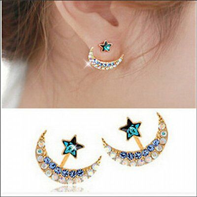 1 Pair Fashion Lovely Women Lady Star Crystal Rhinestone Ear Stud Earrings Gift