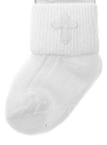 BABY GIRL OR BOY WHITE CHRISTENING EMBROIDERED CROSS EMBLEM ANKLE SOCKS