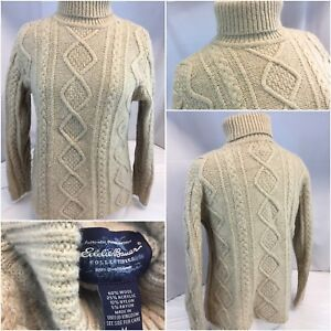 Eddie-Bauer-Turtle-Neck-Sweater-M-Beige-Wool-Nylon-Made-England-YGI-A9-379