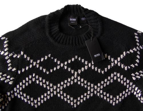 Men's HUGO BOSS Black White Crew Neck Sweater XXL 2XL NWT NEW $325+ Slim Fit