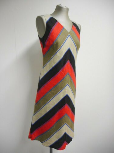 Hobbs lino 100 Dress Uk10 London Geometric Multicolor Stripe lino By Gorgeous qF1ECwZ