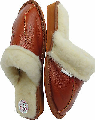 WARME Hausschuhe Pantolette, Gr. 37, Leder+Schurwolle (Made in Poland 12./38)