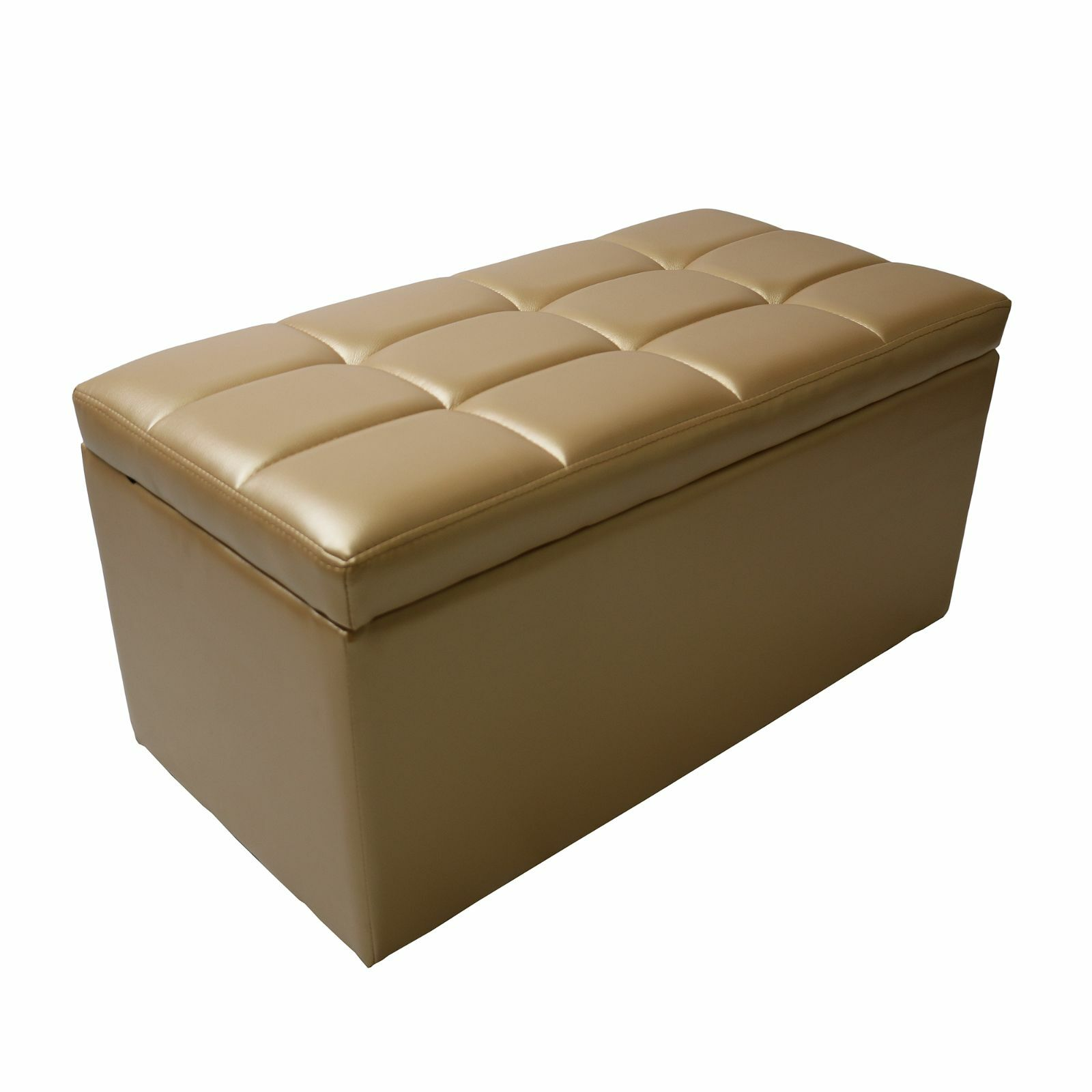 Golden Faux Leather Storage Foot Rest Lift Top Bench