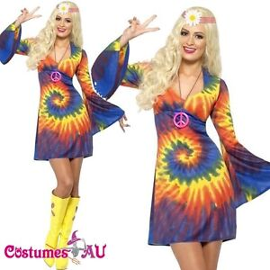 Ladies Tie Dye 60s 70s Hippy Costume womens 1960s 1970s Go ...