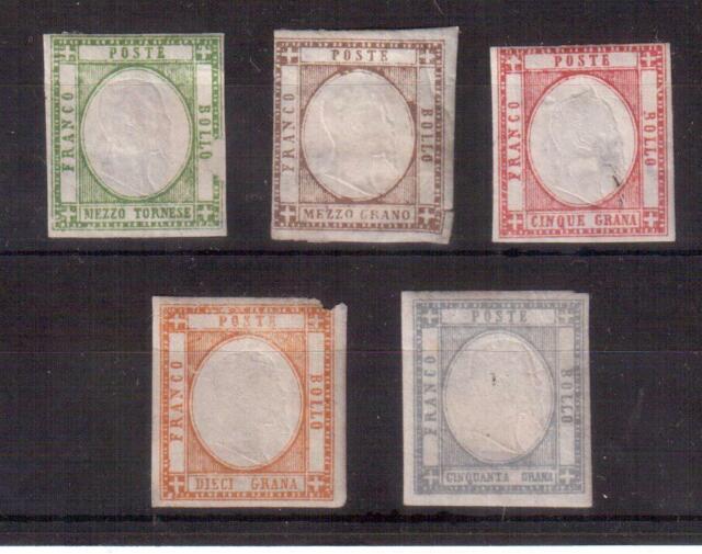 ITALY 1861 NEAPOLITAN PROVINCES LOT 5 MINT STAMPS #19/20/23/25/27 !!  D22