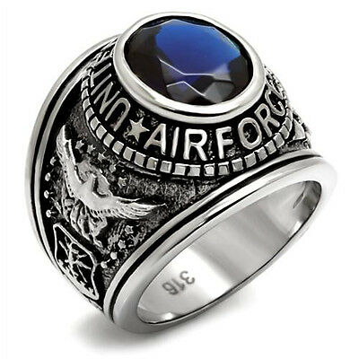 Air Force Ring US Military Simulated Blue Sapphire Antique 316L Stainless Steel