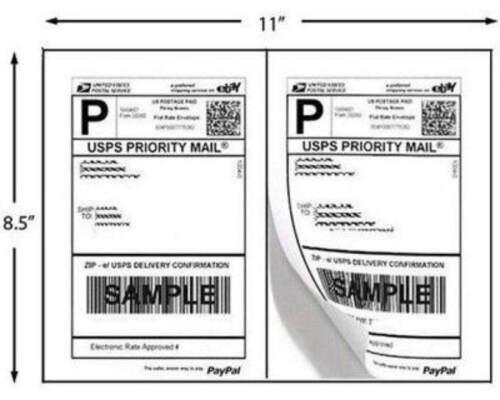 Mailing Shipping Labels 8.5x5.5 Half Sheet  Self Adhesive