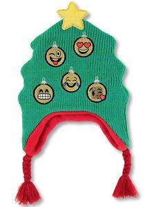 CHRISTMAS TREE Emoji Ornaments Girls Peruvian BEANIE Cap