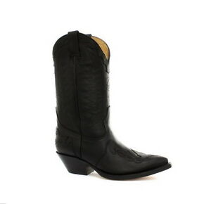 Grinders-Unisex-Cowboy-mid-calf-Black-boots-with-eye-catching-stitching-detail