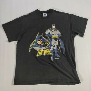 VTG-1989-Batman-Logo-7-Original-Graphic-T-Shirt-XL-USA-DC-Comics-Black-50-50