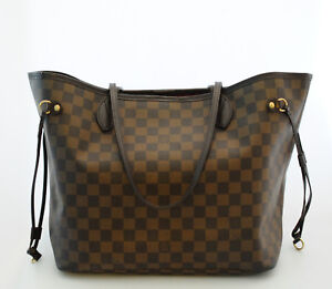 79e250ff5ea Louis Vuitton Neverfull MM Damier Ebene Red Lining Tote Bag 2008   eBay
