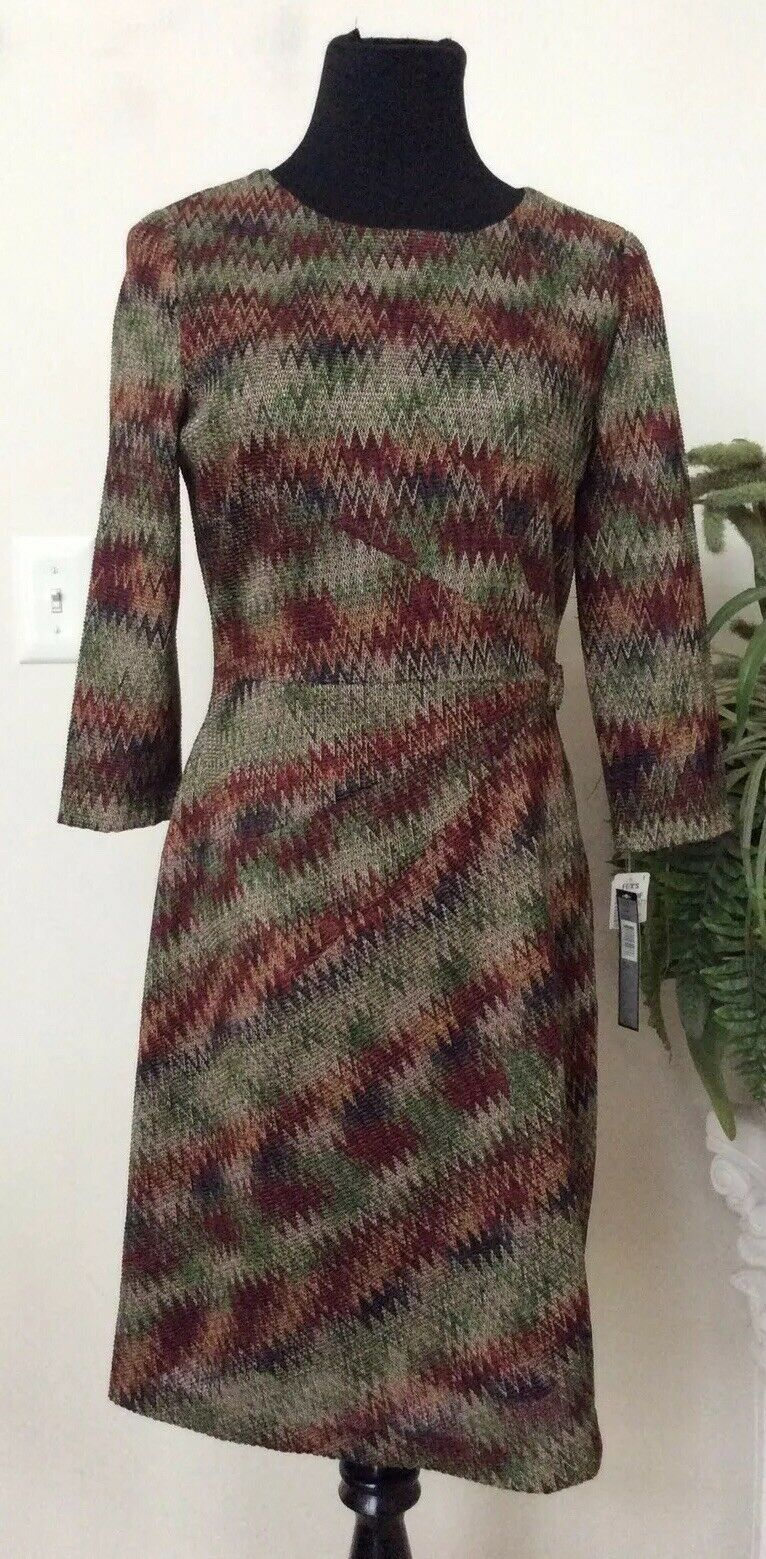 NWT Tahari Woherren Olive rot Polyester Sheath Knee Length Dress Sz10 Ret.