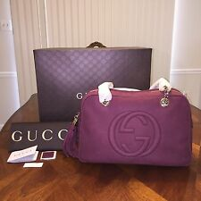New Authentic Gucci Soho Nubuck Leather Chain Shoulder Bag Burgundy MSRP $ 1750