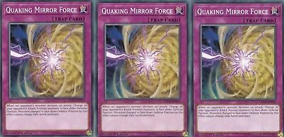 3 X  QUAKING MIRROR FORCE LEDD-ENB23 LEGENDARY DRAGON DECK YuGiOh CARD