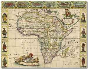 old world map of africa Vintage Illustrated Old World Map Of Africa And Tribes Canvas old world map of africa