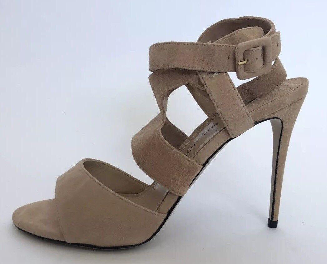Paul Andrew Women shoes Size 37 NIB Nude Suede Sandals Heels