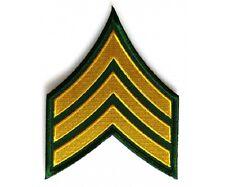 "(00) Green & Yellow SERGEANT CHEVRON 3"" x 3.75"" iron on patch (5823) Military"