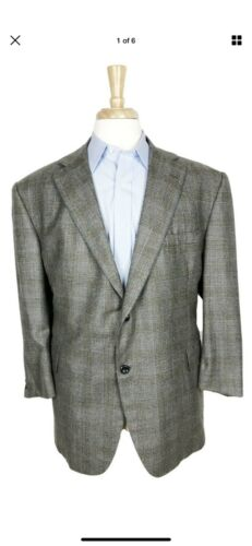 Oxxford Clothes 50S Gray Brown Glen Plaid Check Sp