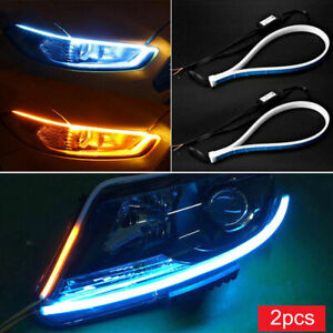 2Pcs DRL Switchback Flowing LED Strip Light,12V Sequential Turn Signal Daytime Running Light,45//60cm Waterproof Flexible Soft Tube Guide Indicator,BessieSparks