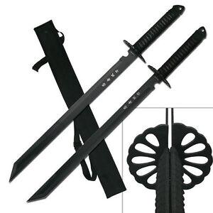 2-PC-Large-Full-Tang-28-034-Ninja-Twin-Tanto-Blade-Sword-Machete-w-Nylon-Sheath