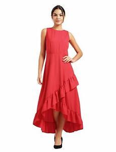 official photos e3812 79736 Dettagli su Vestito Rosso Asimmetrico Abito Lungo Arruffato Per Prendisole  Estivo Da Donna