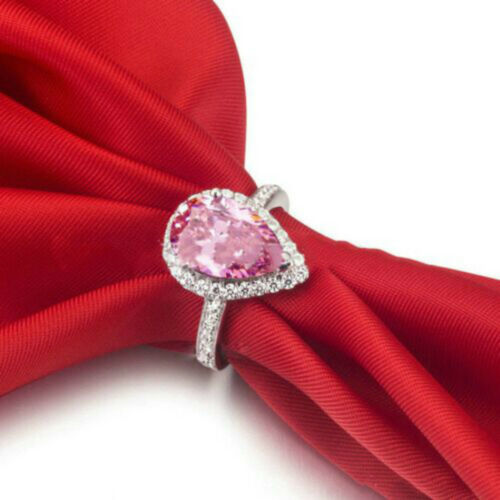 Very Pretty Pear Cut Rainbow And Pink Topaz Sterling Silver Ring Pear Cut Ring