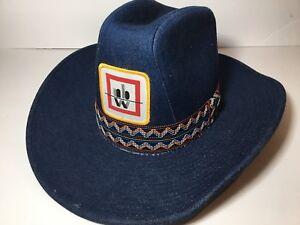 db5f24226e07a Vintage 1970s Denim Cowboy Hat Blue Large 7 1 4 - 3 8 Colorful YR ...