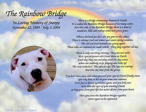 Personalized Pet Memorial Poem The Rainbow Bridge For Loss Of Pet Ebay