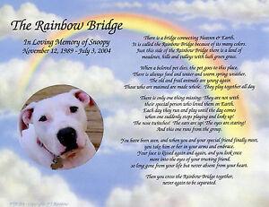 personalized pet memorial poem the rainbow bridge for loss
