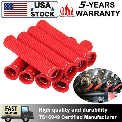 8X 6INCH HIGH HEAT SHIELD ENGINE SPARK PLUG WIRE BOOT PROTECTOR SLEEVE COVER RED