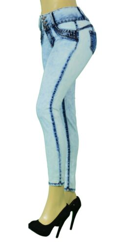 High Waist  Stretch PushUp Colombian Style  Skinny Jeans  Acid Washed  LA759