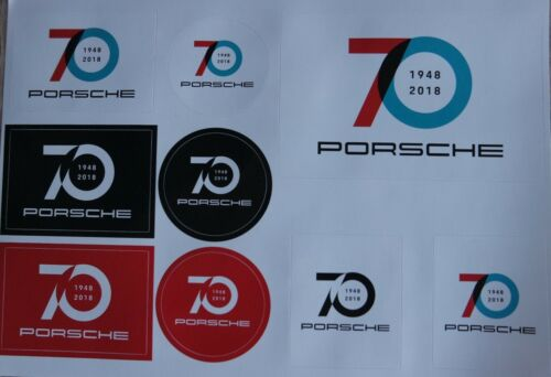 9 stickers 70th year RAR Porsche 70 Years Anniversary Stickers Set 1948-2018