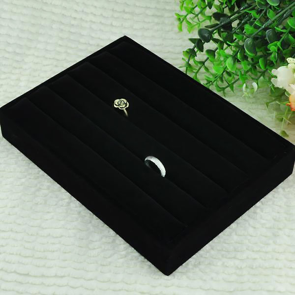 Retail Ring Ear Stud Jewelry Display Tray Case Storage Box Showcase Holder Black