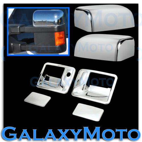 08-15 Ford Super Duty Chrome TOP Half Mirror+2 Door Handle w//o PSG Keyhole Cover