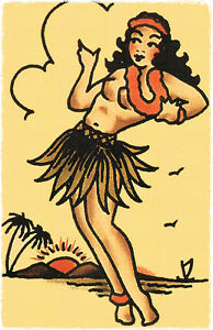 110 Sexy Hula Pin Up Girl Vintage Sailor Jerry Traditional Style
