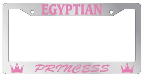 Chrome METAL License Plate Frame EGYPTIAN PRINCESS Auto Accessory