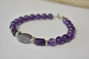 Amethyst-Bracelet-Natural-Stones-Beads-Crystal-Healing-Bali-Silver-Stainless