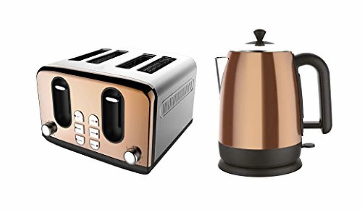 Küche Frühstück 2 Piece Set Kupfer 4 Slice Toaster & Kettle Home Appliance