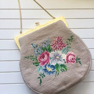 Vintage Needlepoint Taupe Floral Handbag Metal Frame Kiss