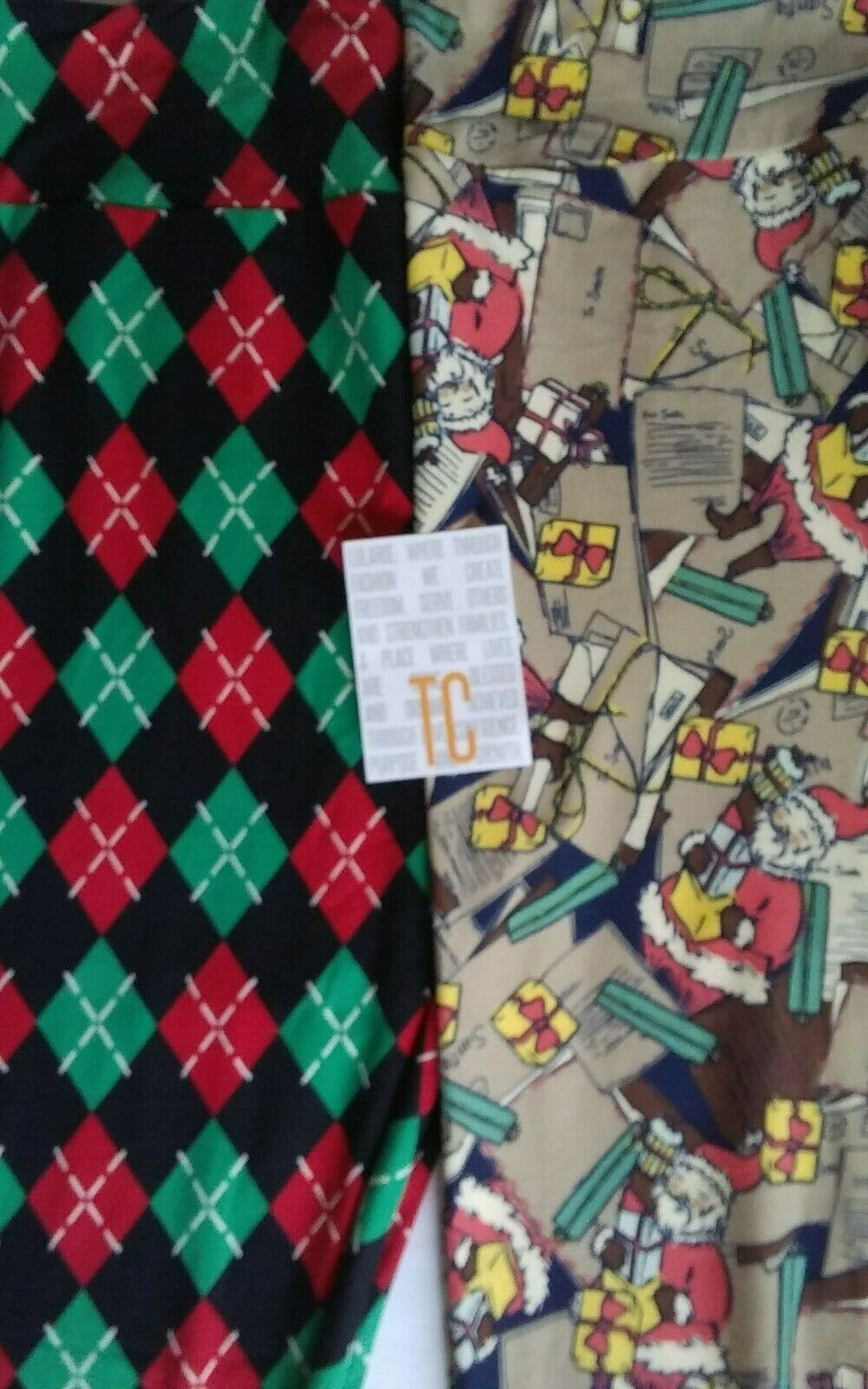 BUTTERY SOFT LULAROE   SIZE TC  TWO PAIR OF LEGGINGS, ARGYLE & LETTERS TO SANTA