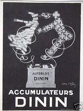 PUBLICITÉ 1929 ACCUMULATEUR AUTOBLOC DININ - CRÉATION VERCASSON - ADVERTISING