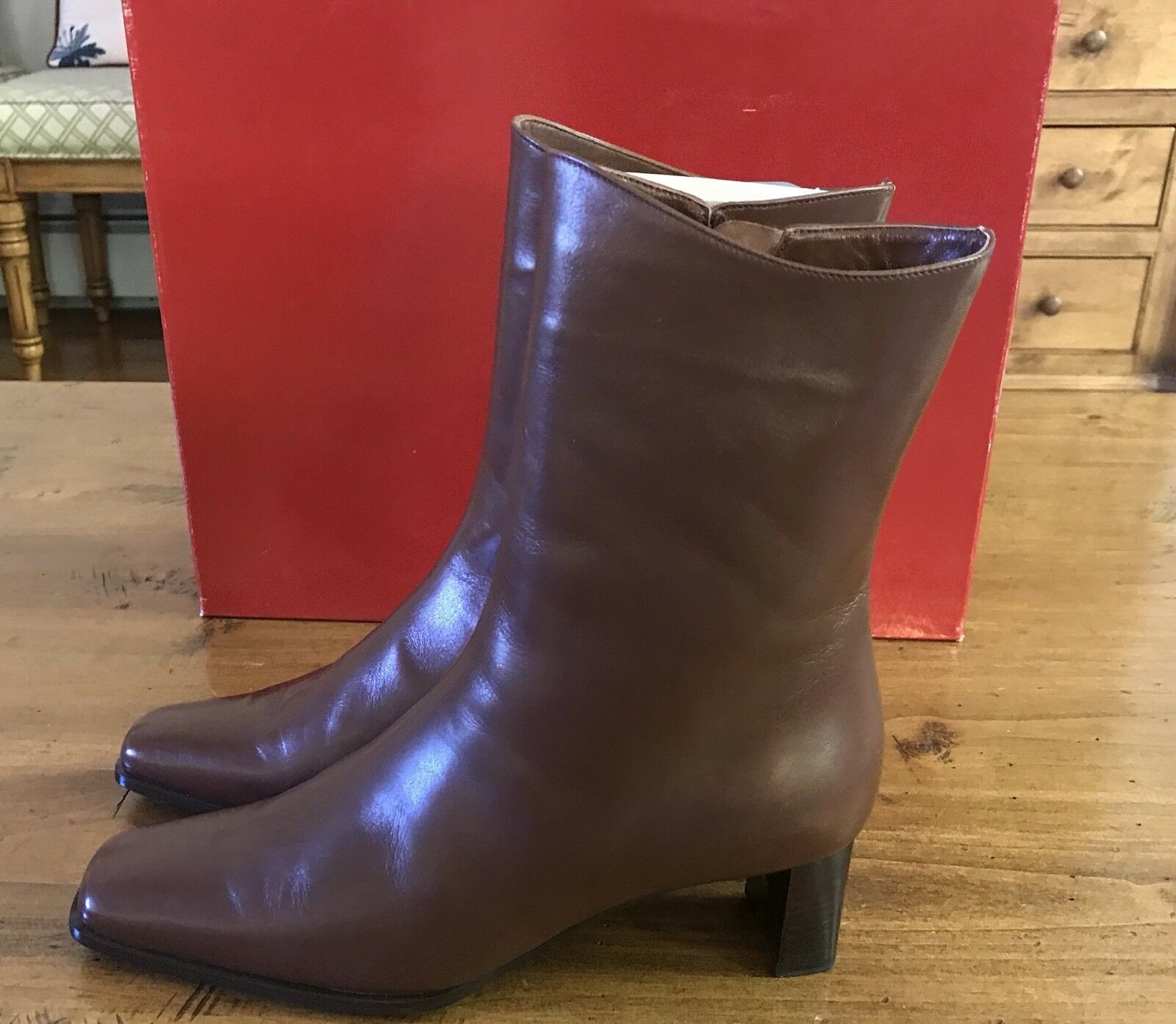 Salmaso Donna Soft Brown Leather Above Ankle Boots Zip EU Italy 37.5 US 7 Made Italy EU 1b6816
