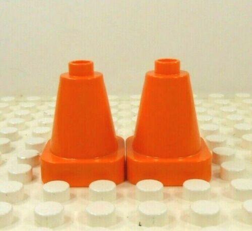 2 Lego Duplo Item Highway Hazard Safety Cones Orange