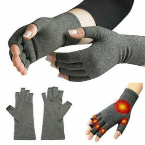 2X-Anti-Arthritis-Copper-Gloves-Compression-Fingerless-Support-Joint-Pain-Relief