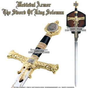 47-034-Medieval-Israel-King-Solomon-Crusader-Knight-Sword-Gold-Color-Hand-Guard