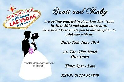 Personalised Las Vegas Wedding Reception Party Invitations Married In Vegas USA