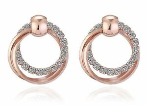 Details About Rose Gold Plated 3 Hoop Stud Drop Crystal Circle Infinity Earrings Uk Er