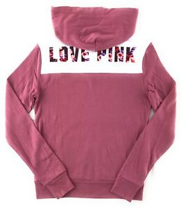 e1516cd53 Details about VICTORIA'S SECRET LOVE PINK HOODIE PERFECT ZIP DOG PATCH  TROPICAL FLORAL JACKET