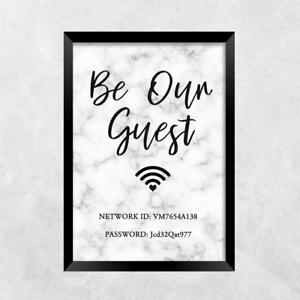 a727af683e744 Details about wifi password be our guest PRINT ONLY a4 Gift Picture wall art