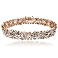 18K Rose Gold Tone 1ct TDW Diamond Chevron Bracelet